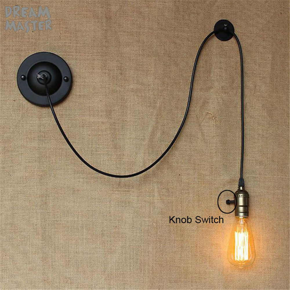 Bedside Reading Studying  DIY art decor industrial wall lights luminaire Knob Switch loft Wall sconces lighting fixture lampe