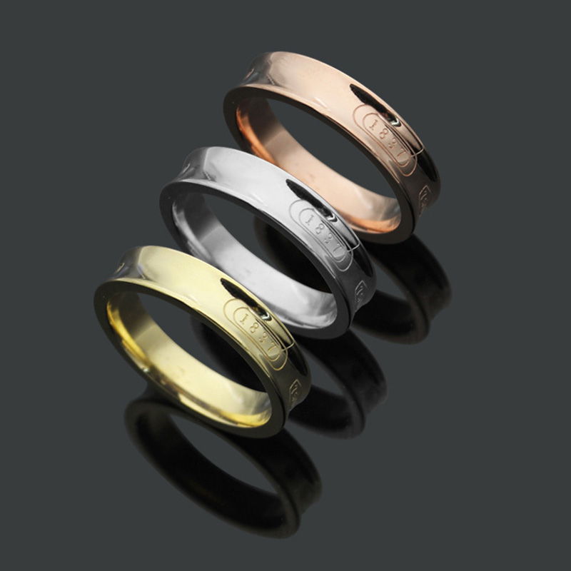 2018 Factory Price Titanium Steel Simple Style T Rings for Women Gift Trendy T Ring Jewelry Female Finger Ring Bijoux Wholesale