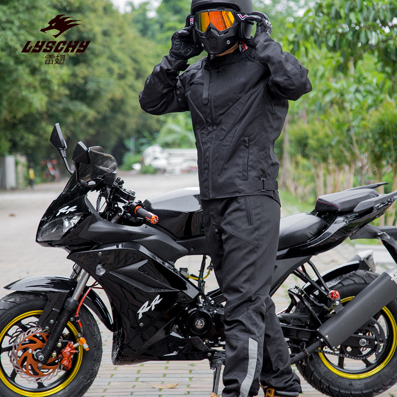 LYSCHY Men Warm Motocross Suits Jacket&Pants Motorcycle Racing Jackets Clothing Trousers Moto Chaqueta Protective Gear BLACK riding tribe men s motorcycle bikes slimming protective armor jackets motocross breathable cycling suits clothes with 6 pads