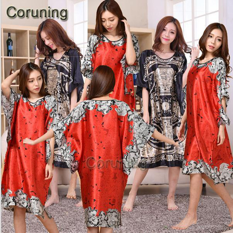 Extra Large Butterfly Sleeves Women   Nightgowns   Printed,New Arrival Elegant   Sleepshirts  ,Female Silk Nightwear