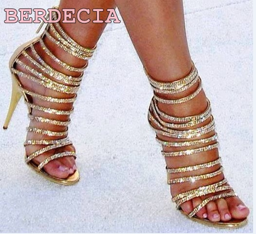 ФОТО women luxurious bling bling crystal peep-toe sandals buckle strap gladiator sexy thin heels shoes gold color leather sandals