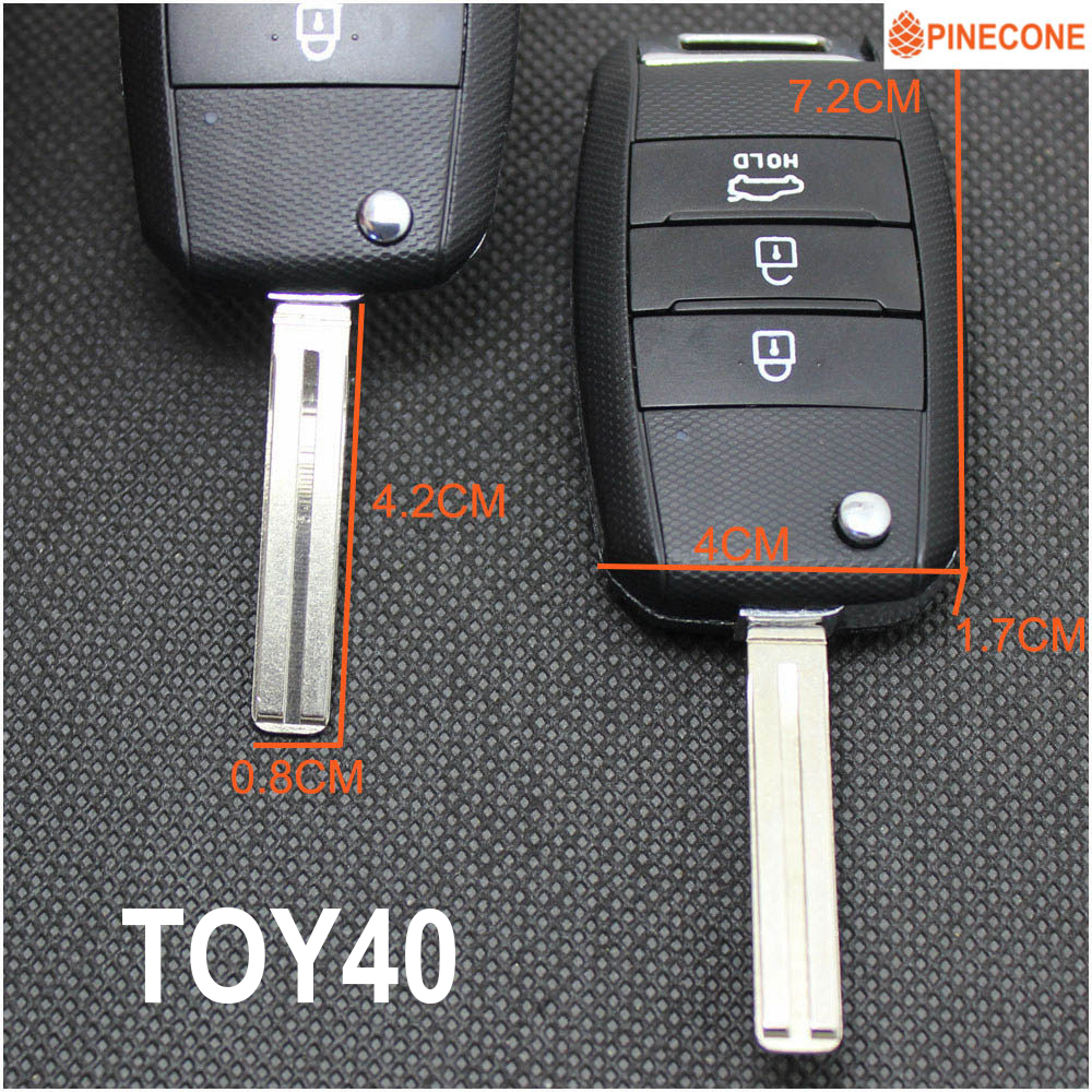 PINECONE Key Shell For KIA K2 K3 K5 FORTE CERATO CARENS Vehicle Key Uncut TOY40 HYN14 Blade Replace Flip Folding Car Key Fob in Car Key from Automobiles Motorcycles