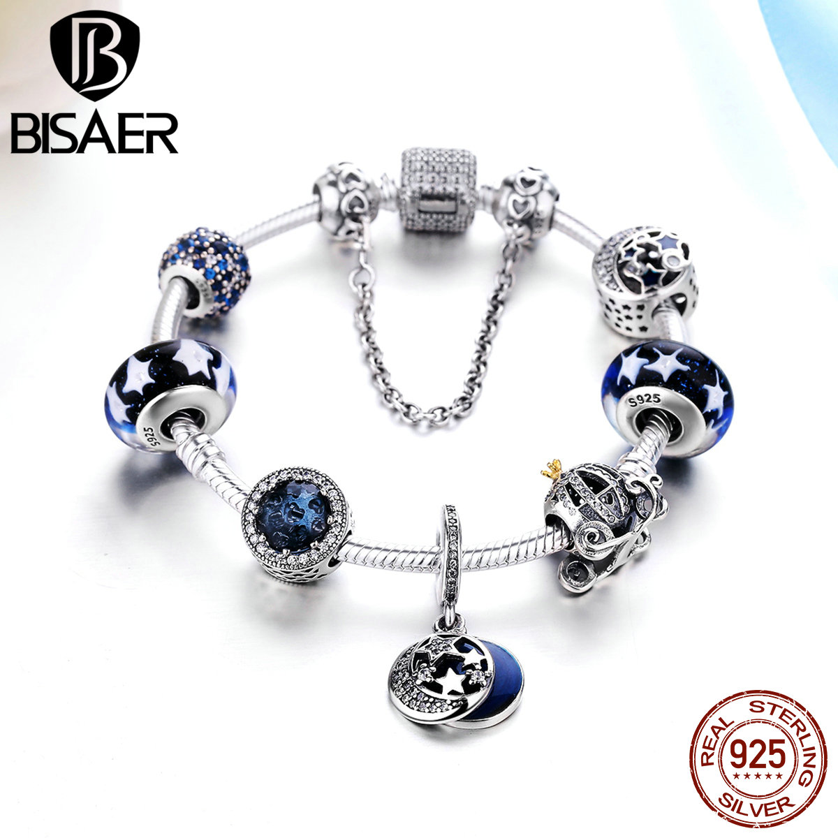 925 Sterling Silver Glittering Moon and Star Pumpkin Car Blue Radiant Beads Femme Charm Bracelet Valentine