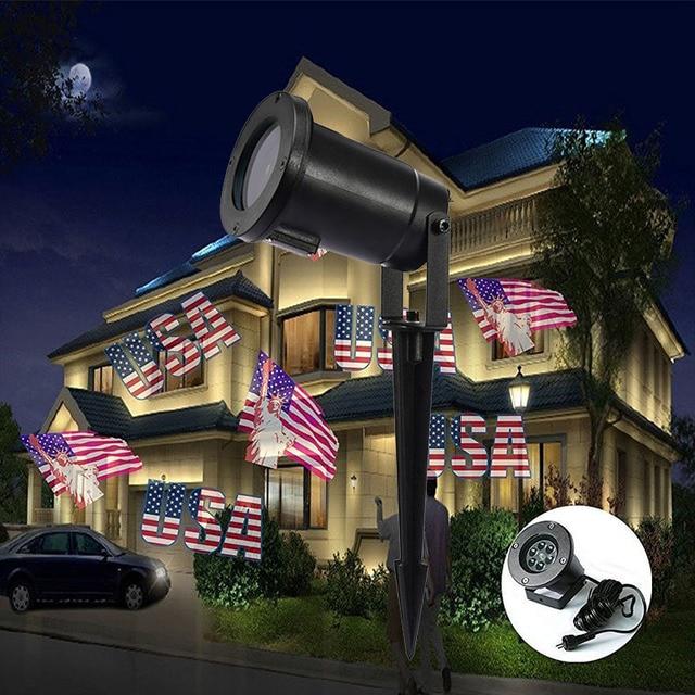 Amerikanische Weihnachtsbeleuchtung.Us 55 7 Neue Led Amerikanische Flagge Wirkung Projektor Weihnachtsbeleuchtung Outdoor Ip65 Projektor Xmas Tree House Party Schmücken Zeigen