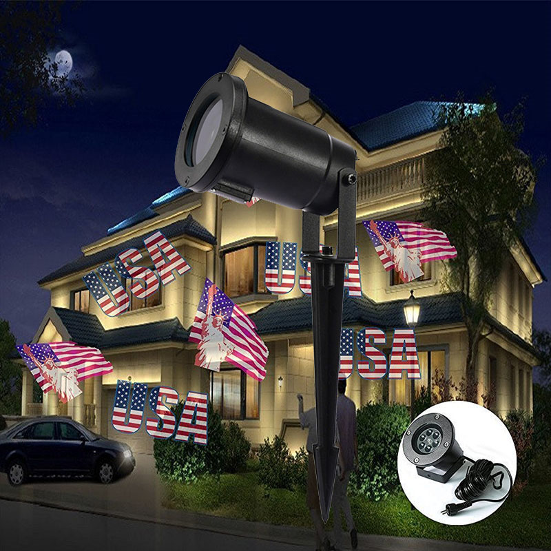 Led American Flag Effect Projector Christmas Lights Outdoor Ip65 Xmas