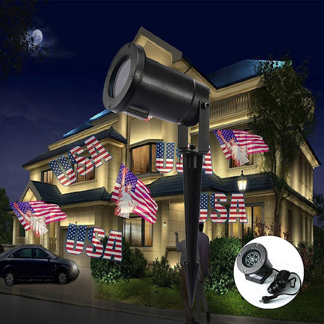 New LED American Flag Effect Projector Christmas Lights Outdoor Projector IP65 Xmas Tree House Party Decorate & New LED American Flag Effect Projector Christmas Lights Outdoor ...