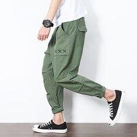 2017 Лето Новый японский сплошной цвет мужской моды ноги досуг брюки повседневные закрытые Облегающие штаны штаны-шаровары щиколоток Штаны