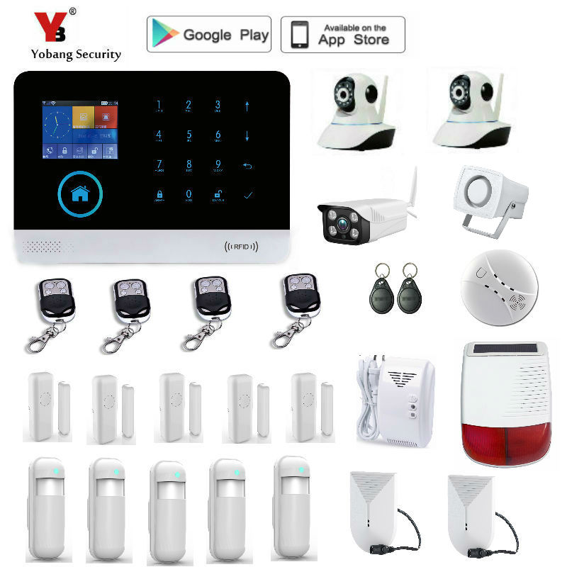 Yobang Security Wireless GSM IOS Android App wifi GSM home security Alarm Security Systems Home yobang security wifi gsm sms wireless home security alarm system ios android app remote control