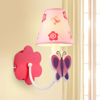 Simple fashion children led Pink Princess cartoon girl bedroom wall lamp butterfly garden headboard lamp