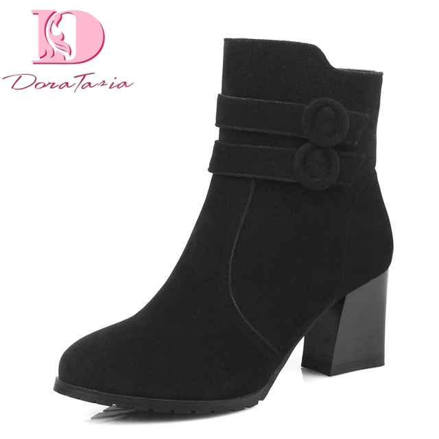 Doratasia Brand New Top Quality Big Size 43 Elegant Women's Shoes Ankle Boots Flock Buckles High Heels Lady Woman Boots Shoes