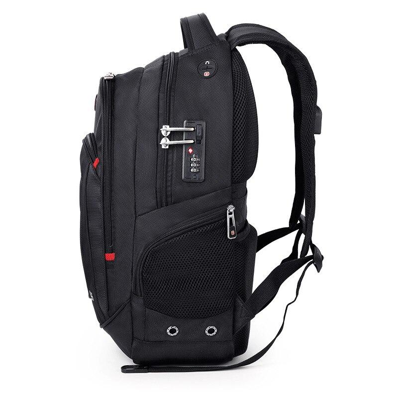 17 pouces suisse usb tsa antivol sac à dos pour ordinateur portable engrenage hommes chargeur de voyage sac à dos étanche sac masculin sacoche étanche sac