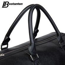 BOSTANTEN Genuine Leather Men Travel Bags Overnight Duffel Bag