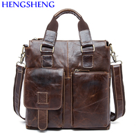 Hengsheng Promotion genuine leather men messenger bags for business leather shoulder bags of cow leather men bags
