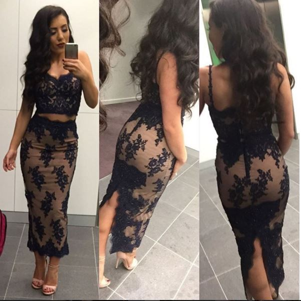 2019 Navy Blue Two Pieces Sheath Sexy Tea Length   Bridesmaid     Dresses   Spaghetti Straps Beaded Appliques Pencil Skirt Party   Dress