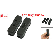 Promotion!Amico 5 Pcs AC 250V/125V 2A Black Plastic ON/OFF Button In Line Cord Switches