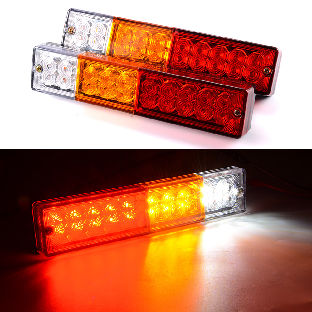 2pcs 20 LED Car Truck Red+Amber+White LED Trailer Waterproof Tail Lights Turn Signal Brake Light Stop Rear Lamp DC 12V CY798-CN