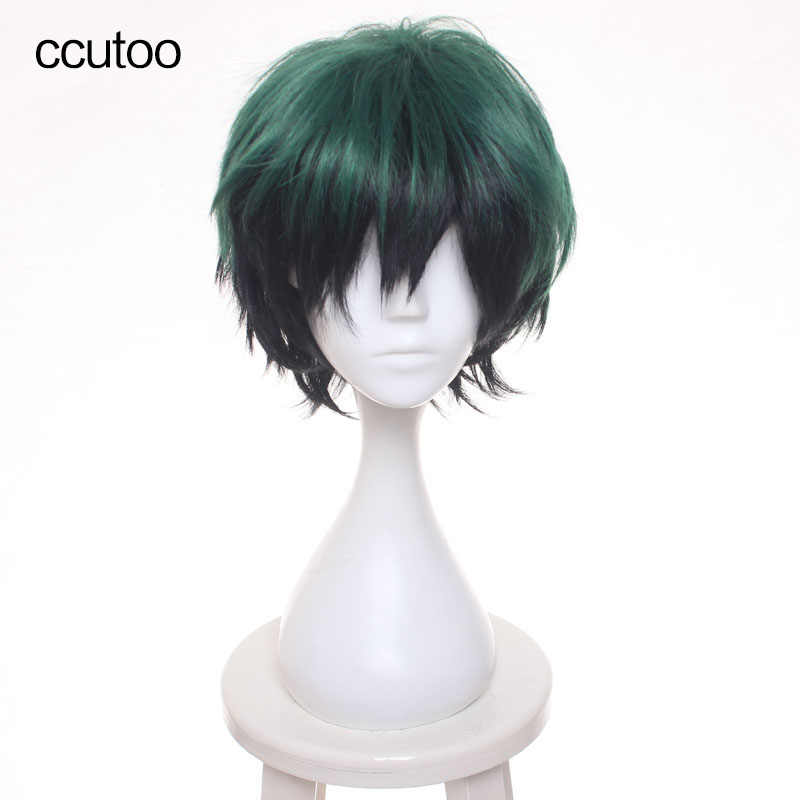 ccutoo 30cm Green Black Mix Short Shaggy Layered Fluffy Synthetic Hair My Hero Boku no Hero Academia Izuku Midoriya Cosplay Wig