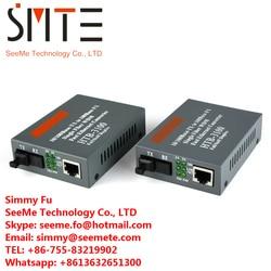 1 par Htb-3100ab conversor de mídia de fibra óptica único 25km sc 10/100 m único modo a 1310nm-tx, b 1550nm-tx