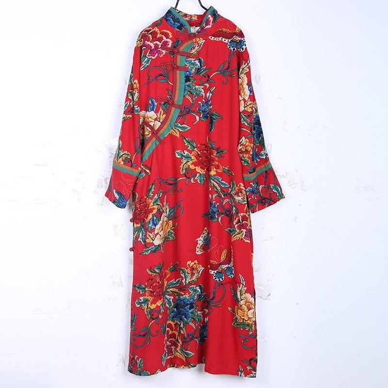 Printemps et automne nouvelle chine vent frappé couleur couture améliorée Cheongsam longue carte Oblique manches longues robe