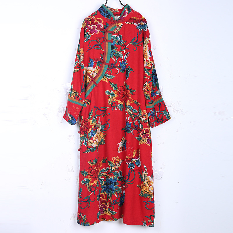 Spring And Autumn New China Wind Hit Color Stitching Improved Cheongsam Long Oblique Card Long Sleeves Dress