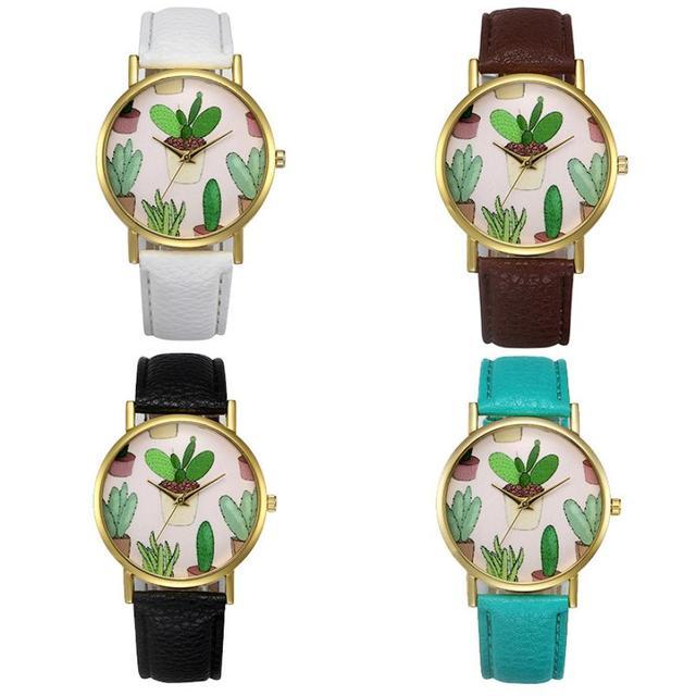 New arrival montre femme women watches high quality cactus pattern relogio masculino clock dress horloges mannen#5