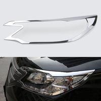 2Pcs ABS Chrome Exterior Front Headlight Lamp Light Cover Frame Bezel Trim For CRV CR V 2012 2013 2014 Accessories Car Styling