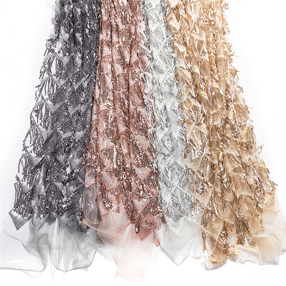 PanlongHome 1 Meter/lot European And American Style Sequins Tassel Fringe Mesh Beaded Fabric DIY Embroidery Dress Fabric