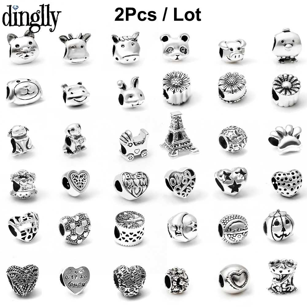 2Pcs Silver Cartoon Animal Cat Dog Bear Love Beads Charms Fits European Pandora Charm Bracelets & Bangles DIY Jewelry Gifts