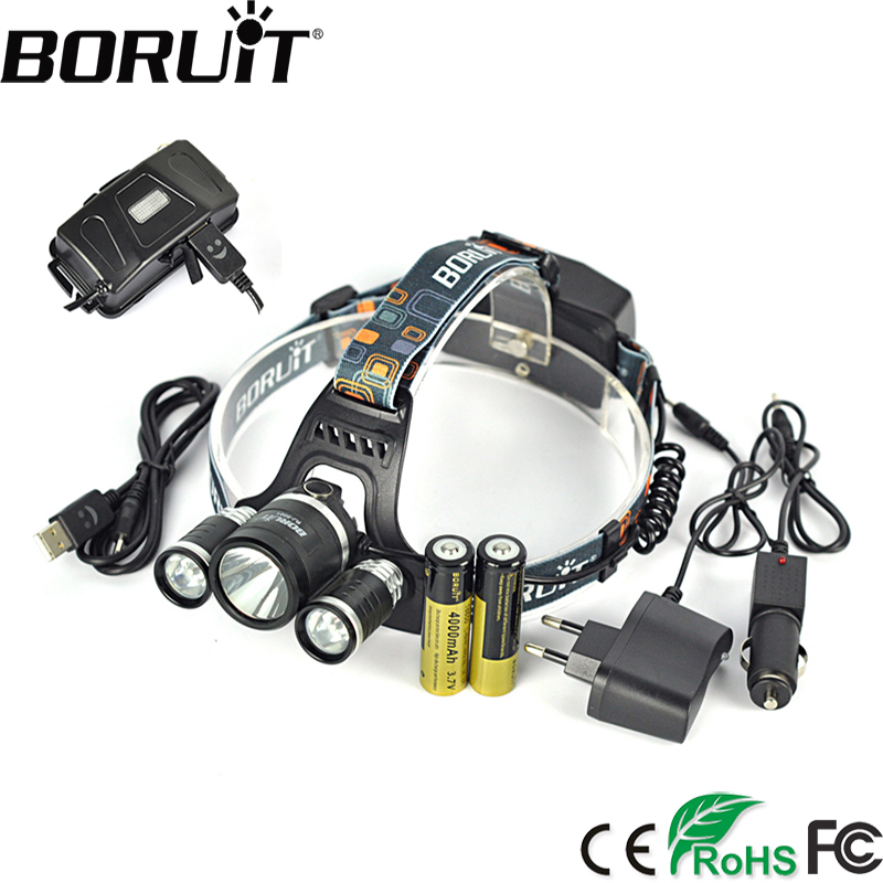Boruit 8000 LM XM-L2 LED Headlamp 4-Mode Headlight Rechargeable Head Torch Hunting Camping Frontal Lantern by 18650 Battery boruit 1000lm xm l2 led headlight 4 mode zoom headlamp usb rechargeable head torch camping hunting flashlight 18650 battery