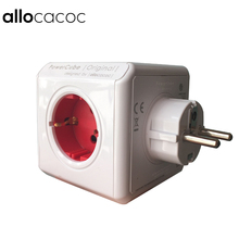 Allocacoc PowerCube Inteligente Socket Adaptador DE Enchufe de LA UE de 5 Puntos de Venta Regleta Extensión Adaptador Multi Enchufe Domótico Rojo
