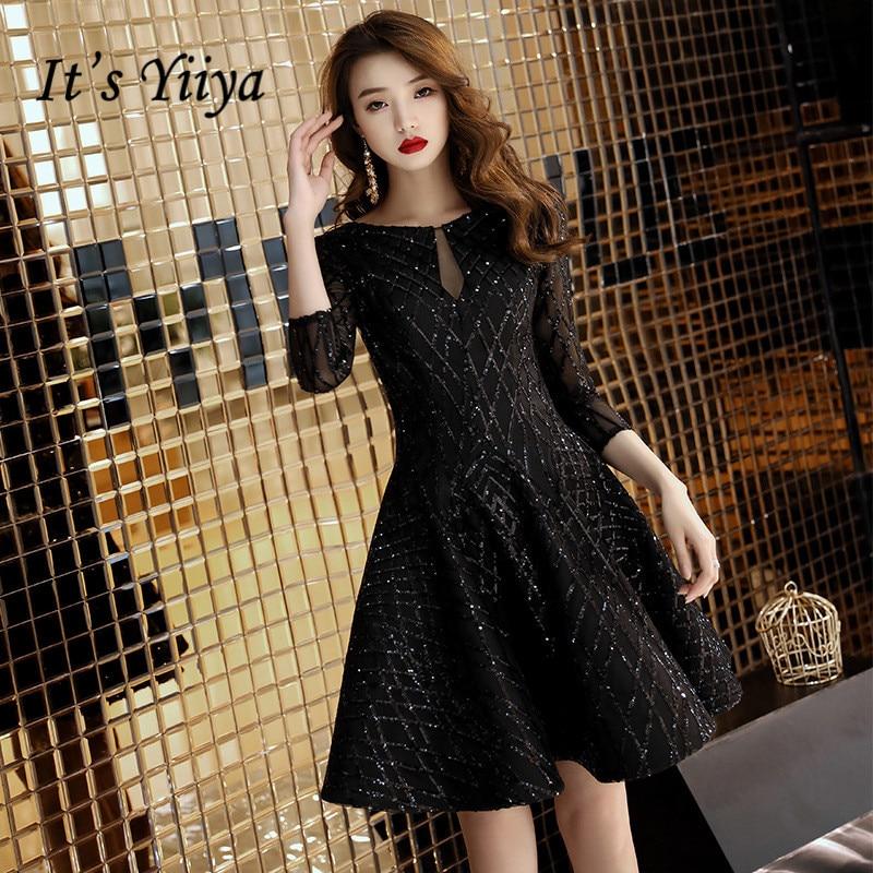It's YiiYa Cocktail Dresses Little Black Bling Half Sleeve Short Formal Dress Elegant Party Ball Gown For Girls E009