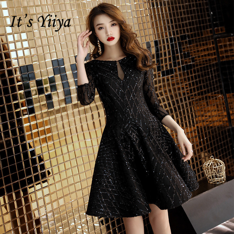 It's YiiYa   Cocktail     Dresses   Little Black Bling Half Sleeve Short Formal   Dress   Elegant Party Ball Gown For Girls E009