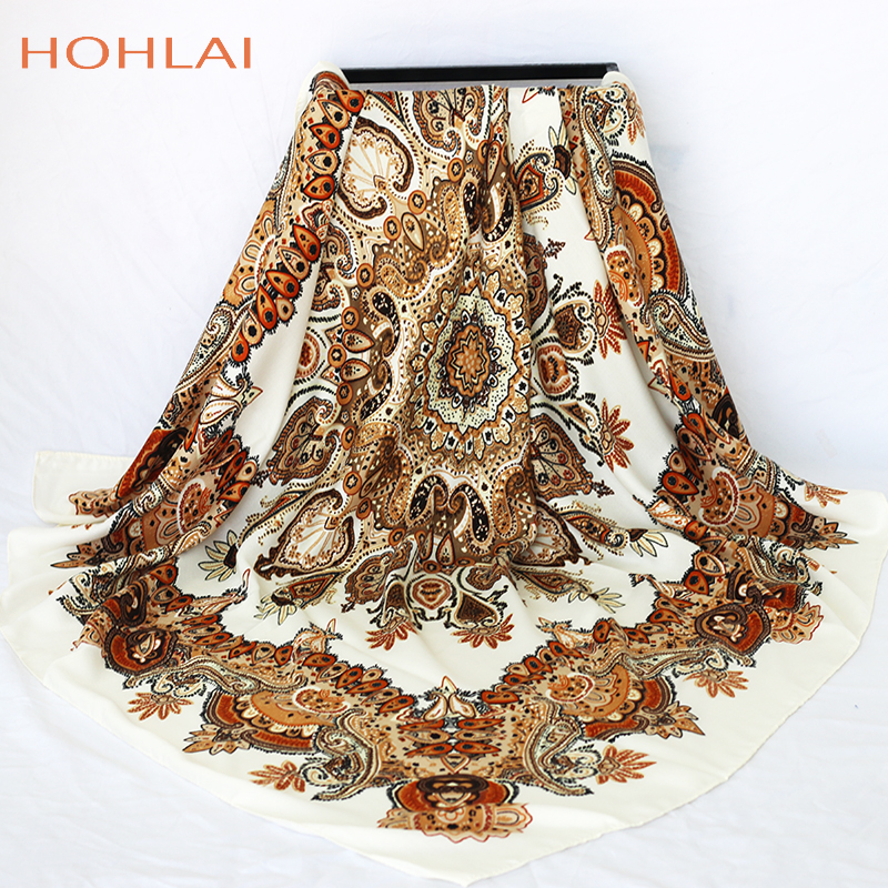 2019 New Designer Bandana Printing Winter Scarf Women Shawls Thicken Warm Scarves Stoles Luxury Brand Scarf Women Wrap 120*120cm