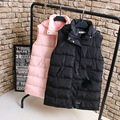 A0 Winter Casual Women Long Padded Vest Coat Plus Size Clothes Hooded Hairball Thick Outerwear Fashion Padded wadded jacket 1080