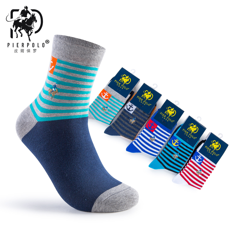 Mens PIER POLO Brand Socks Business Dress Socks in Tube Colored Cotton Socks 5pairs/lot