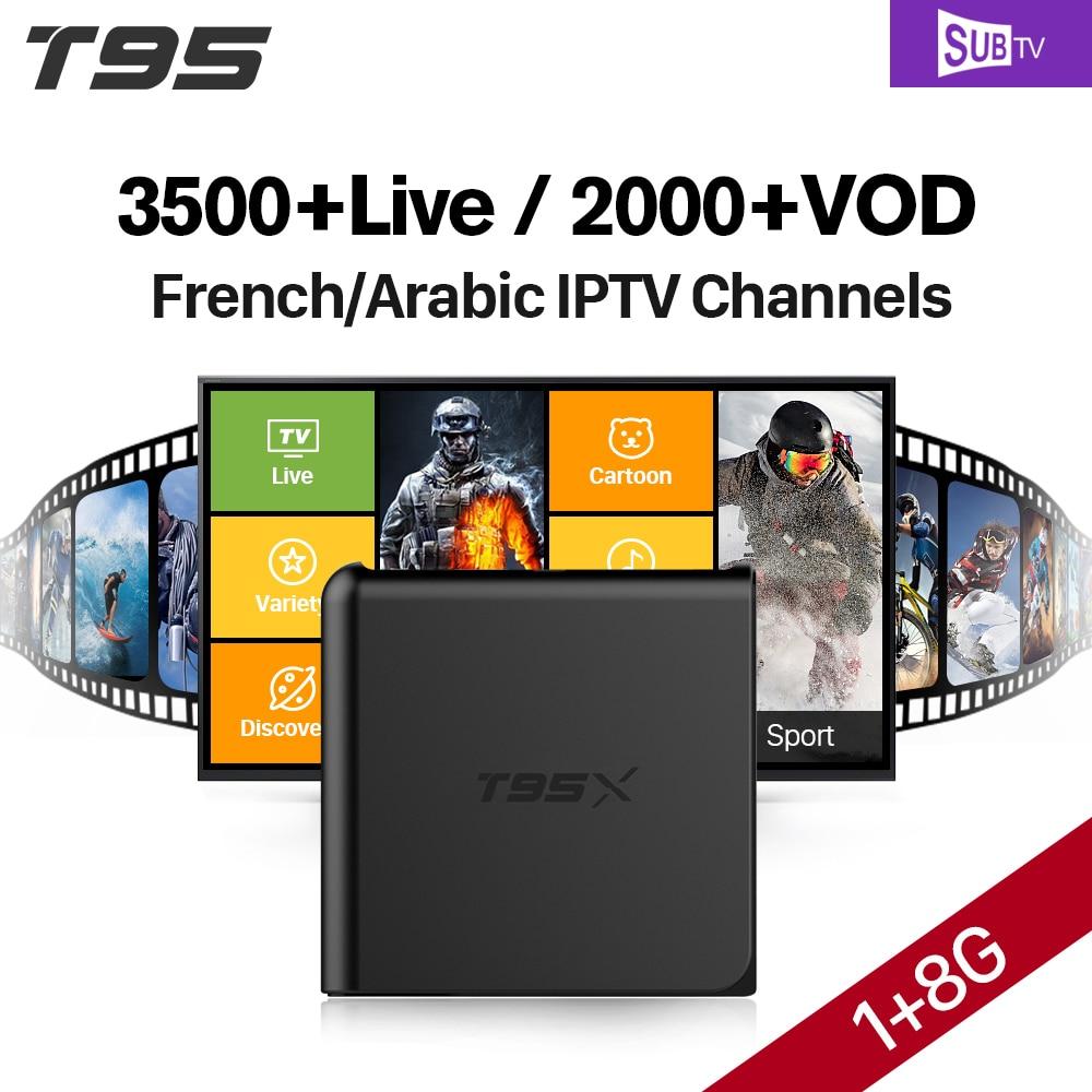 T95X S905X Android 6.0 TV Box 8GB Quad Core 2.4Ghz Wifi Smart Set Top Box SUBTV Code 3500+ Arabic French IPTV Box