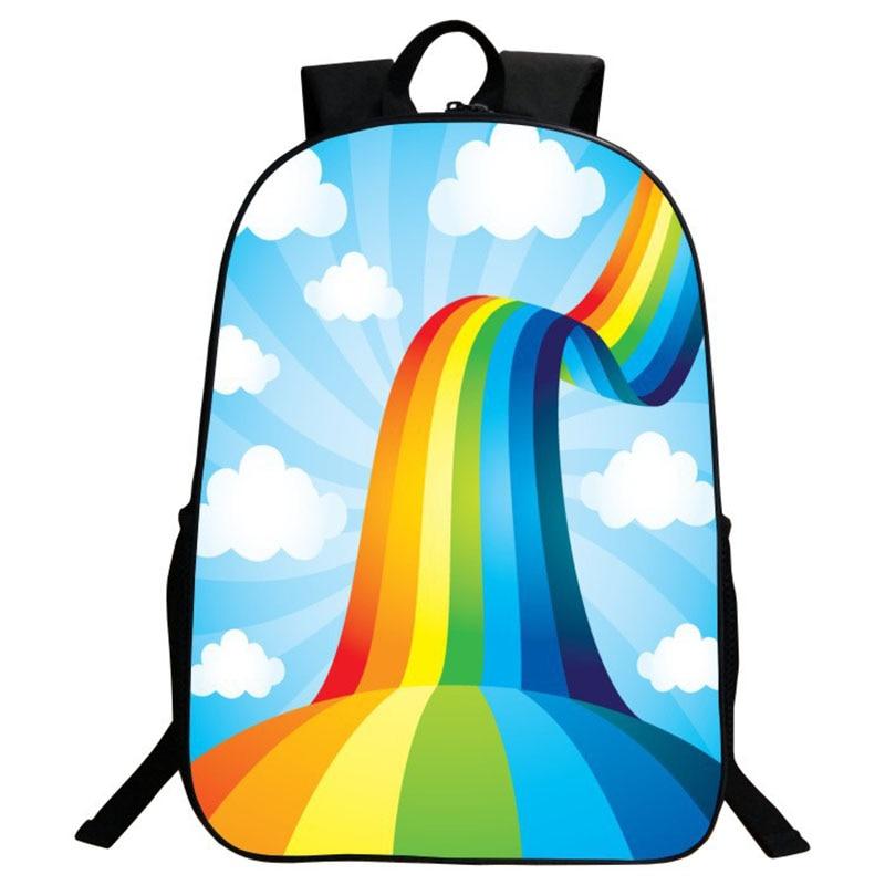New Nylon Cartoon Men Backpack Rainbow Women Backpack Mochila Children Schoolbag Child Female Large Capacity Computer School Bag