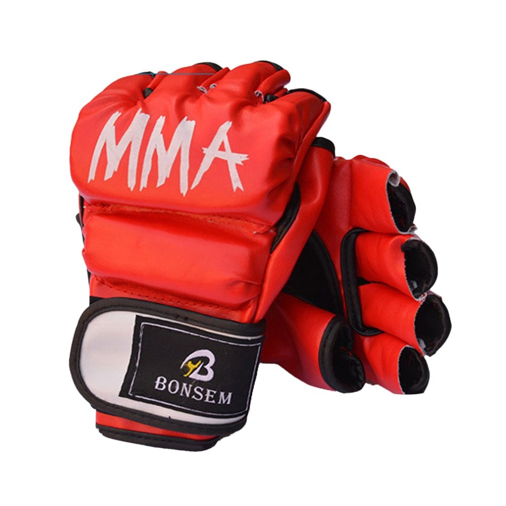 A Pair/Set Comfortable MMA Boxing Gloves Soft PU Half Finger Design Grappling Punching Bag Training Gloves for Adult