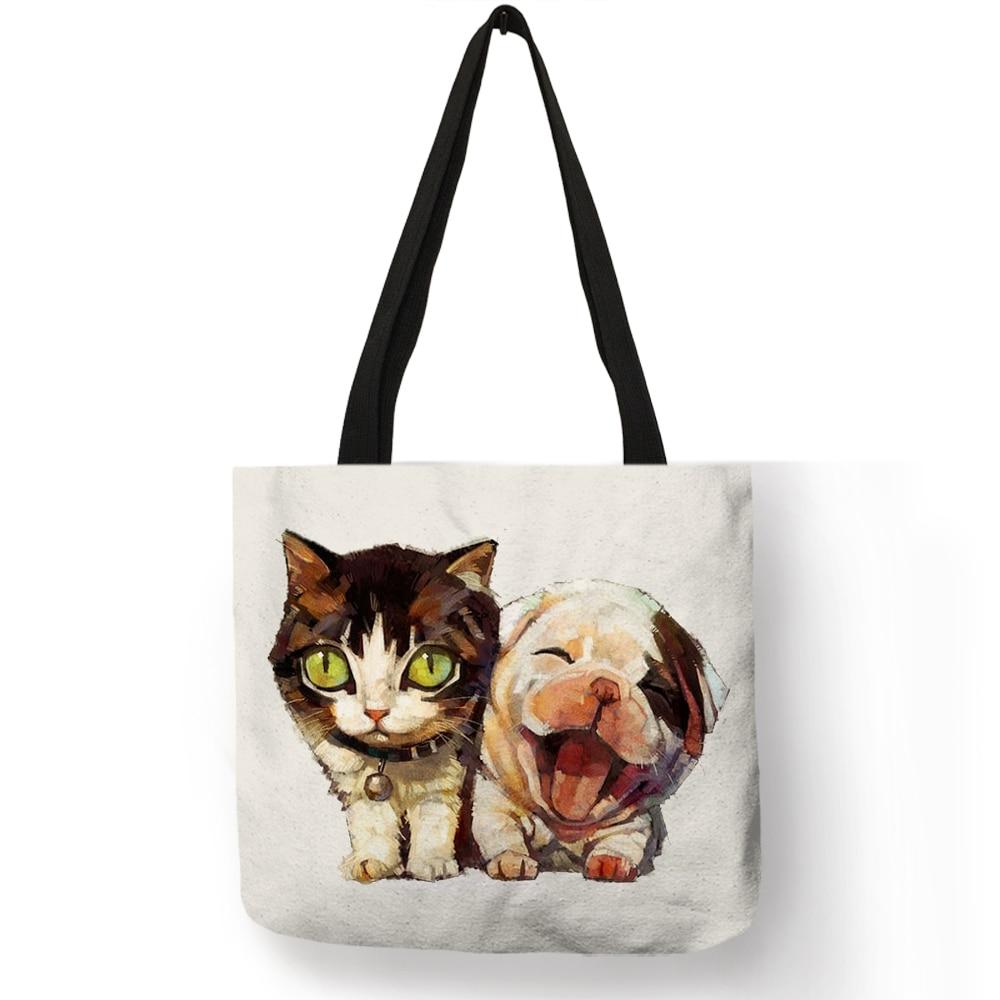 Eco Linen Reusable Shopping Bag With Cat Dog Print Women Fashion Casual Handbags Student Travel School Bags