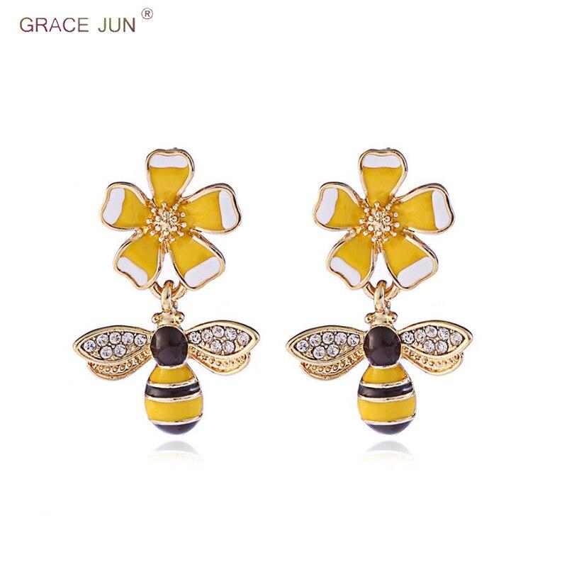 Ohrringe Ohrclips WohltäTig Gnade Juni Neue Ankunft Emaille Biene Blume Form Clip Auf Ohrringe Und Tropfen Durchbohrt Ohrringe Für Frauen Mode Charme Ohrringe 2018