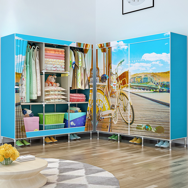 COSTWAY Cloth Wardrobe For clothes Fabric Folding Portable Closet Storage Cabinet Bedroom Home Furniture armario ropero muebles-in Wardrobes from Furniture    3
