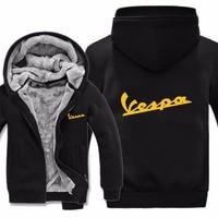 2019 Free Shipping Men Casual Wool Liner Fleece Vespa Scooter Sweatshirts Hoody Pullover Vespa Hoodies Jacket Winter