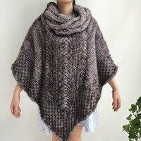 Women Knitted 100% Real Mink Fur Poncho Cape Natural Mink Fur Jacket Ladies Winter Warm Crochet Real Fur Coat Shawls for Women