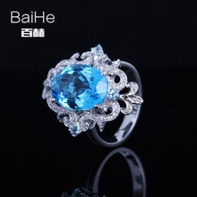 BAIHE Sterling Silver 925 4.7ct Certified Flawless Oval CUT Genuine Blue Topaz Engagement Women Trendy Fine Jewelry fashion Ring