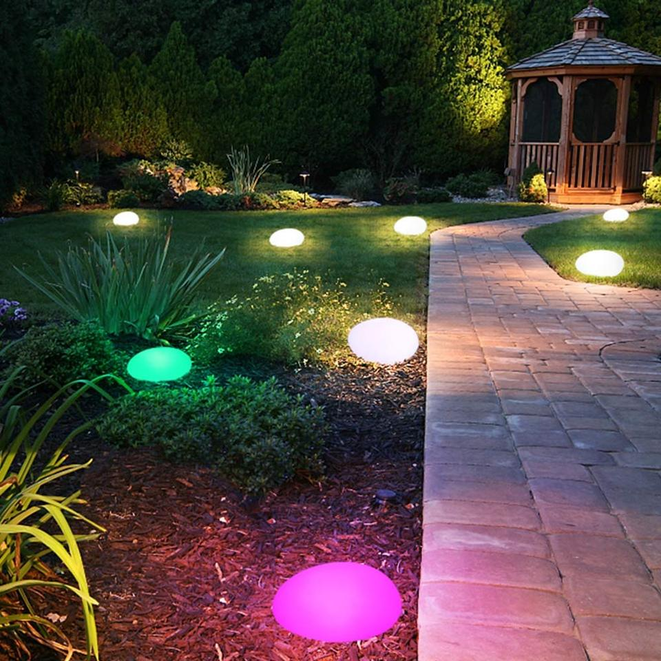 Solar Lights Outdoor Glow Cobble Stone