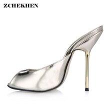 купить Sexy metal high heel Mules pumps Shoes Woman peep toe Slingbacks Pumps Mirror leather gold high Heels Ladies Shoes 35-43 по цене 2507.85 рублей