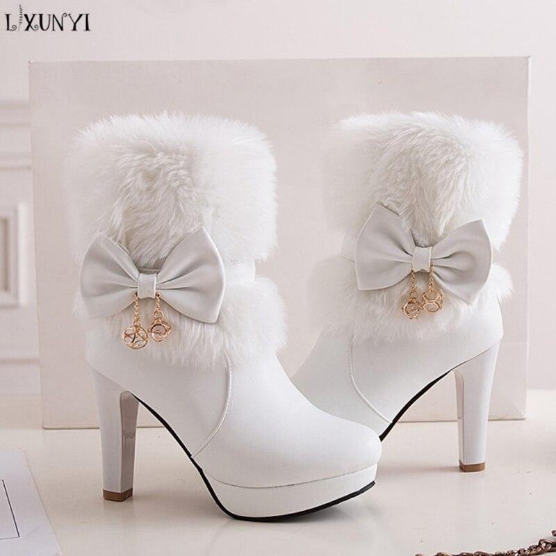 LXUNYI Faux Fur Women Ankle Boots Fashion 2018 PU Leather Spike High Heels Zipper Platform Boots Female Shoes White Black Pink