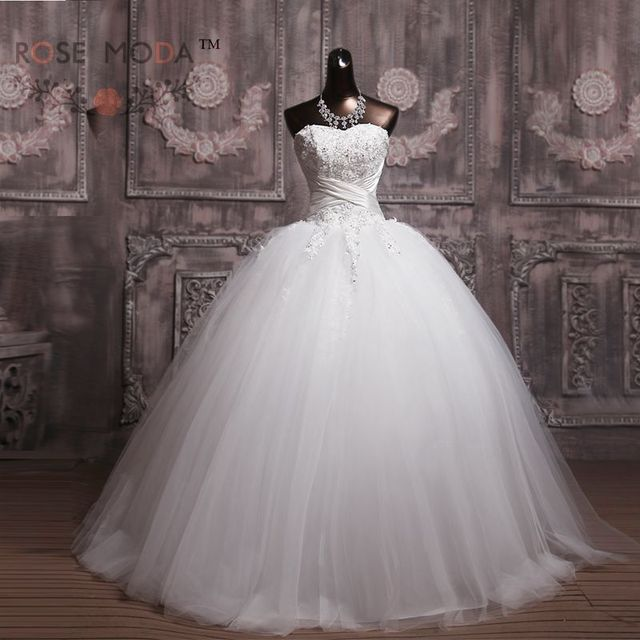 Aliexpress Buy Strapless Lace Corset Wedding Ball Gown Ivory