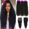 Jaycee Brazilian Deep Wave 3/4 Bundles With Closure Remy Human Hair Weave Bundles With Closure extenciones de pelo natural