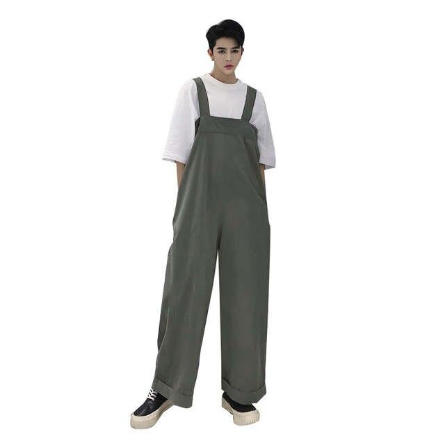 US $31.8 |Ulicy Hip Hop mężczyźni Retro luźne spodnie na szelkach męskie spodnie szerokie nogawki kombinezon spodnie męskie Streetwear taniec